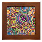 Rainbow Retro Circles Pattern Framed Tile