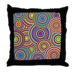 Rainbow Retro Circles Pattern Throw Pillow