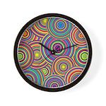 Rainbow Retro Circles Pattern Wall Clock