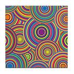 Rainbow Retro Circles Pattern Tile Coaster