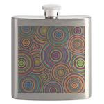 Rainbow Retro Circles Pattern Flask