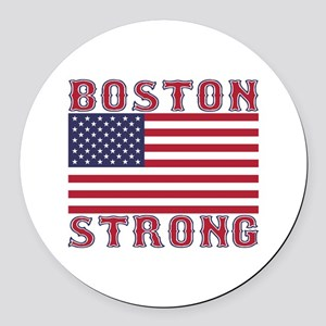 BOSTON STRONG U.S. Flag Round Car Magnet