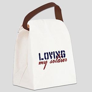 bumper_lovingmysoldier Canvas Lunch Bag