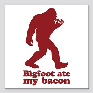 Bigfoot (Sasquatch) ate my bacon! Square Car Magne