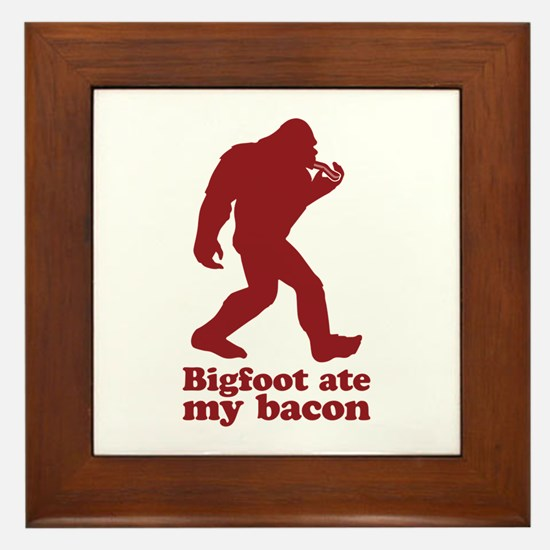 Bigfoot (Sasquatch) ate my bacon! Framed Tile