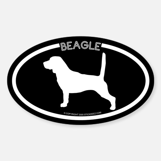 """Beagle"" Black Oval Decal"