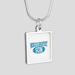 World's Greatest Son Silver Square Necklace