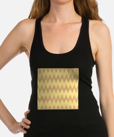 Tan and Light Brown Zigzags. Racerback Tank Top