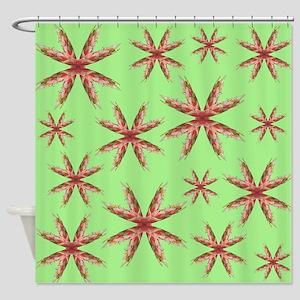 Digital Art Flowers on Green. Shower Curtain