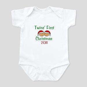 Twins First Santa Hats Infant Bodysuit