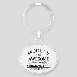 World's Most Awesome Surgical Tech Oval Keychain