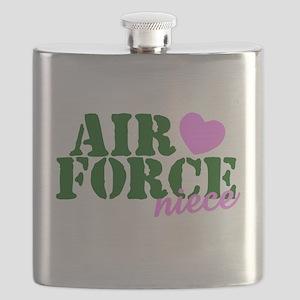 Air Force Niece Green Pink Heart Flask