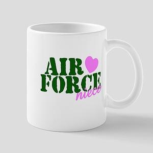 Air Force Niece Green Pink Heart Mug