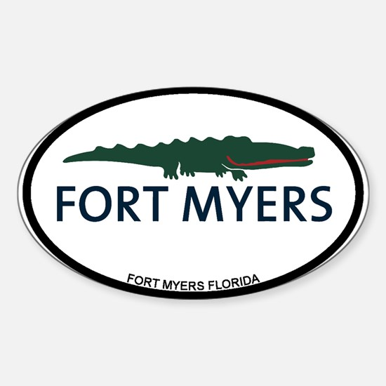 Fort Myers - Alligator Design. Sticker (Oval)