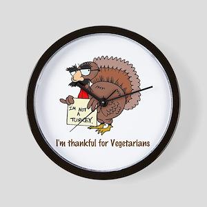 Thankful for Vegetarians Wall Clock