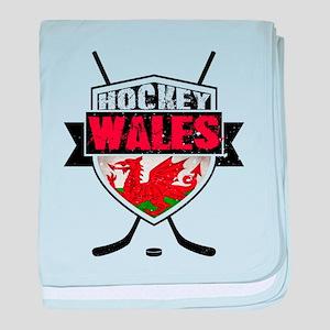 Ice Hockey Wales Flag Shield baby blanket