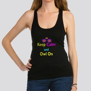 Crown Sunglasses Keep Calm And Owl On Racerback Ta