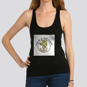 take me to your leader copy Racerback Tank Top