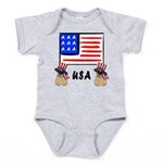 Patriotic USA Pug Dogs Baby Bodysuit