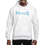 Peace in Blue Hooded Sweatshirt