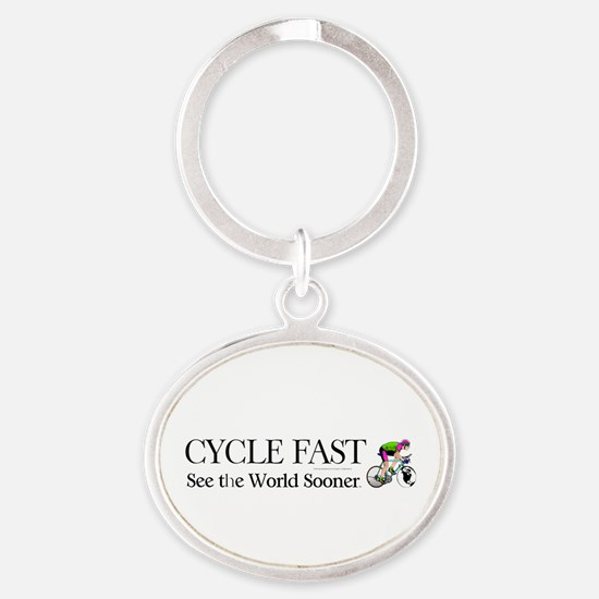 TOP Cycle Fast Oval Keychain
