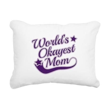 World's Okayest Mom Purple Rectangular Canvas Pill