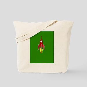 red rocket ship Tote Bag