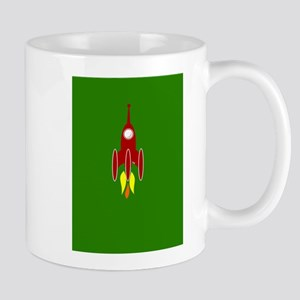 red rocket ship Mug