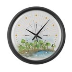 Trees by the sea 1 Large Wall Clock