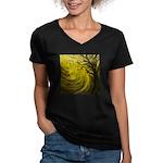forest #3DA Women's V-Neck Dark T-Shirt