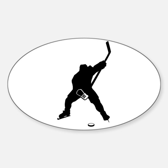 Hockey Player Sticker (Oval)