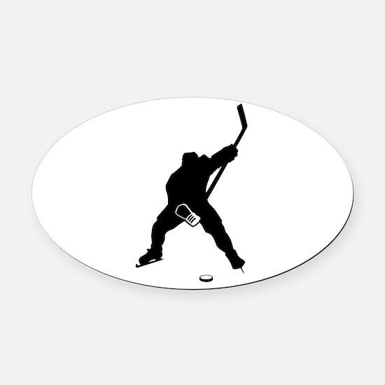 Hockey Player Oval Car Magnet