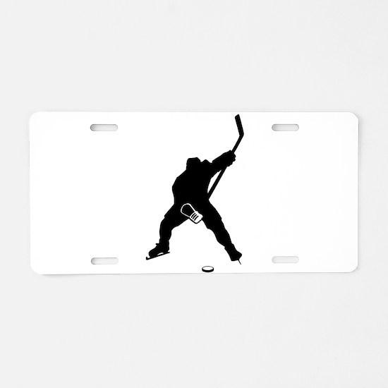 Hockey Player Aluminum License Plate