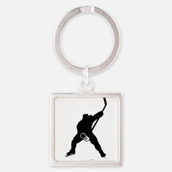 Hockey Player Square Keychain