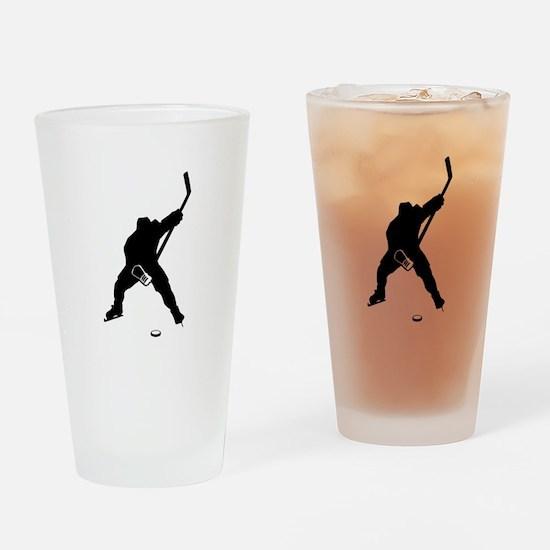 Hockey Player Drinking Glass
