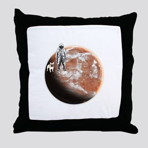 Spaceman with little-dog Throw Pillow