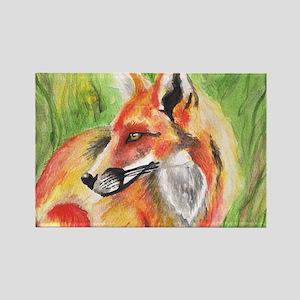 Watercolor Fox Rectangle Magnet