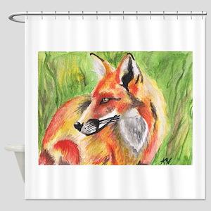 Watercolor Fox Shower Curtain