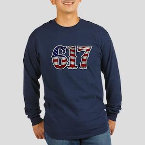 Boston Strong 617 Flag Long Sleeve T-Shirt