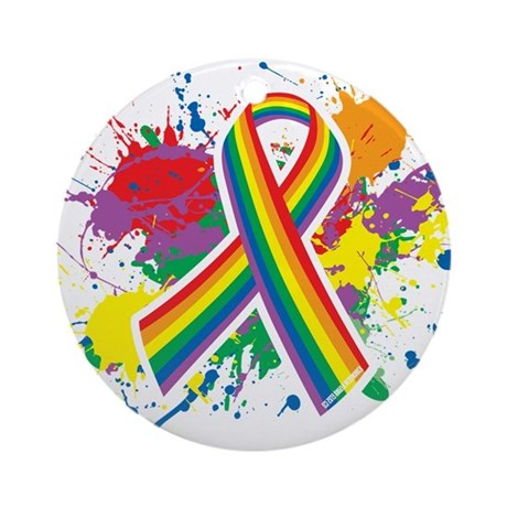 LGBTQ Paint Splatter Ornament (Round)