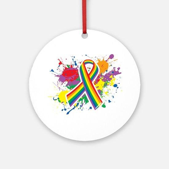 LGBTQ Paint Splatter Ornament (Round)