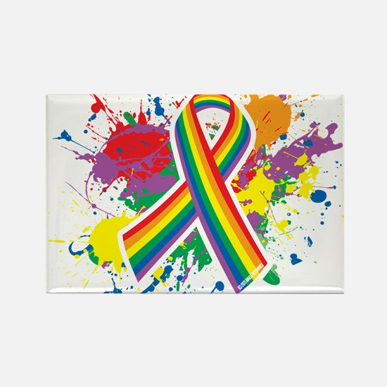 LGBTQ Paint Splatter Rectangle Magnet