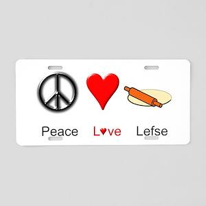 Peace Love Lefse Aluminum License Plate