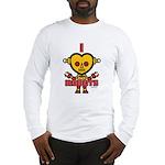 Yellow Retro Robot Long Sleeve T-Shirt
