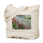 Tulips Along White Picket Fence Tote Bag