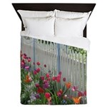 Tulips Along White Picket Fence Queen Duvet