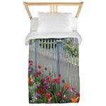 Tulips Along White Picket Fence Twin Duvet