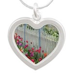 Tulips Along White Picket Fence Necklaces