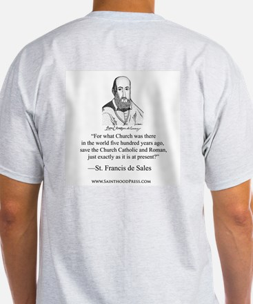 "St. Francis de Sales Grey Signature T ""500 Years"""