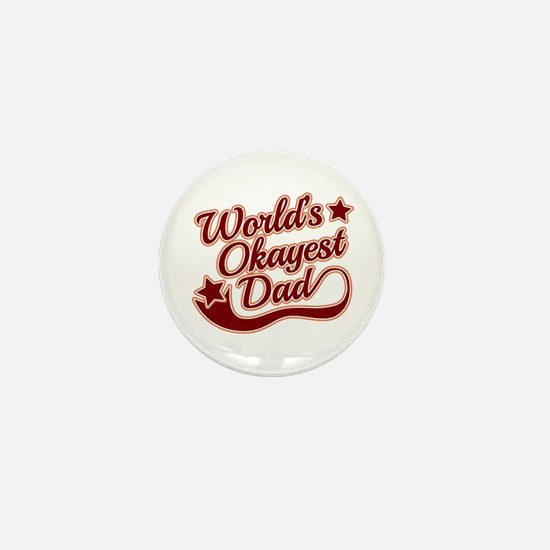World's Okayest Dad Red Mini Button